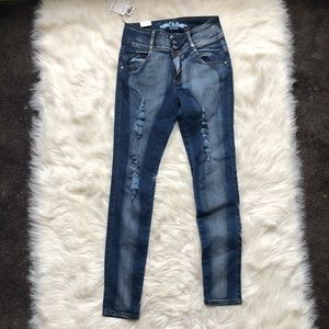 NWT High Waisted Distressed Skinny Jeans Jeweled
